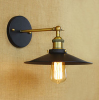 2015 Nouveau Moderne Américain Vintage Industrail Loft Métal Noir Applique Murale Applique Murale 110V-220V E27 E26 Edison Titulaire de la Lampe