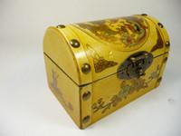الصين القديمة اليدوى رائعة الخشب والمجوهرات مربع الطلاء التنين فينيكس