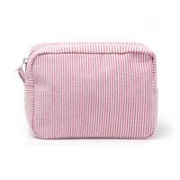 حقيبة مستحضرات التجميل الصغيرة مخططة Seersucker مستطيلات ماكياج الحقيبة هدية عيد (حرية الملاحة)