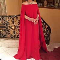 Red Off Shoulder Plus Size Vestidos de noche con abrigo / chaqueta Gasa Vestido largo de baile Mujer Ropa formal African Mother Of The Bride Dress
