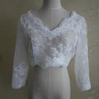 Langarm-Brautjacken Günstige Bridal-WRPAs-Spitzenmantel Elfenbein Jacken V-Ausschnitt Bolero Jacke Brautkleid Custom Made