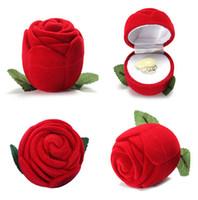 Novedad caja de anillo de rosa roja para pendientes de compromiso de boda colgantes caja de joyería