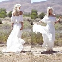 Chiffon und Spitze weg von der Schulter eine Linie Bohemian Brautkleider 2015 Frühlings-Halbarm Zurück Zip-Gerichts-Zug-Kleid für Land-Hochzeit EN6037