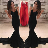 Formal Black Mermaid Evening Dresses Wear Sexy Spaghetti Str...