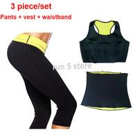 Gros-chaud femmes corps shaper, pantalons + gilet + ceinture / ensemble néoprène sport formateur taille minceur ensembles formation cincher corsets combinaison