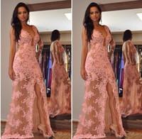 Encaje de Afraic Vestidos de noche de color rosa Vestidos de fiesta con cuello en V escarpados Vestidos de fiesta Barrido del tren Lado atractivo Vestidos largos de fiesta de fiesta 2015