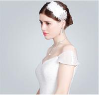 2015 Moda Wedding Flower Feather Hair Klipy Handmade Kryształ Zroszony Bridal Barrettes Wedding Party Akcesoria do włosów z perłami