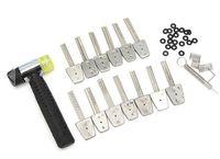 هوك 14PCS الفولاذ المقاوم للصدأ مفتاح مجموعة بت بت مع مطرقة قفل أدوات اختيار فتحت الباب