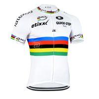 2015 ETIXX QUICK STEP PRO TEAM UCI 화이트 Q18 단 짧은 소매 슬리퍼 로파 CICLISMO SHIRT 사이클링 저지 사이클링 사이즈 : XS-4XL