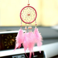 Car Brooches Ornament Hanging Pink Feathers Wind Chimes Drea...