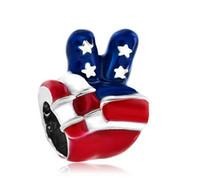 EE. UU. Victoria Signo de la mano Lenguaje de la bandera Grano Esmalte europeo Plateado encantos encantos para pulseras Pandora