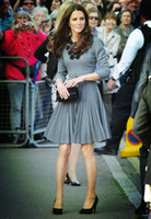 Kate Middleton Princess Appliques Dress Elegant Long Sleeve Pleated Dresses W588