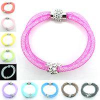 Mix Sales Fashion Link Armbänder Crystal Mesh Magnetverschluss Multilayer Kette Strass Perlen Armbänder Armreifen Schmuck