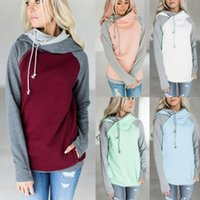 Double Color Zipper Stitching Hoodies Women Long Sleeve Patc...