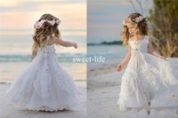 Sweety 2017 Cheap A Line Flower Girls Dresses Square Neck Ap...