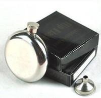 5ozステンレス鋼のヒップフラスコウイスキー酒ワインボトルポケット容器ロシアの毛皮フラスコ屋外丸鏡小売箱