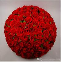 """HoT Vente 30 CM / 12 """"Artificielle Chiffrement Rose Fleur De Soie Embrassant Des Balles Suspendus Boule De Noël Ornements De Noce Décorations De Fête De Mariage"""