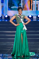Green Evening Dresses Sheer Scoop Illusion Capped Short Sleeves Miss World Pageant A Line Beading Crystal Prom Gown