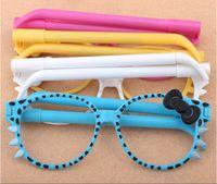 2015 ventes chaudes Bowknot Leopard grain chat lunettes Stylo à bille Creative lunettes modélisation stylo à bille L'enfant papeterie 100pcs / lot