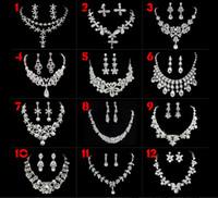 12 Artrhinestone-Kristalltropfen-Halsketten-Ohrring überzogene Schmucksachen stellten für die Heirat des Brautschmucks ein