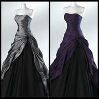 보라색과 검은 색 공 가운 고딕 웨딩 드레스 신부 Strapless 그레이 바닥 길이 실제 그림 신부 가운 Vestidos de Novia