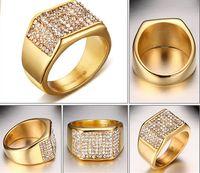 Marka Yeni Yüksek Kalite Altın Kaplama Paslanmaz çelik Kadın Erkek Hediye Shinning Kristaller Ile 11mm Geniş Bant Yüzük Matkap 7 # -12 #