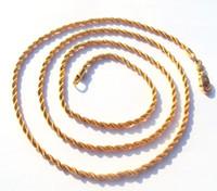 Thin 14k Yellow Gold Overlay Fine French Rope Long Twisted collar Cadena de piezas de oro 100% real, no sólido, no dinero.