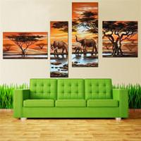 Peintures à l'huile abstraites modernes sur toile 4 pcs / set grand décor à la maison lever du soleil afrique éléphant peintures murales Art photo sur toile
