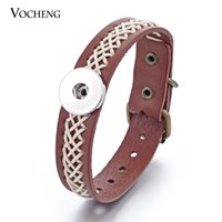 Vocheng NOOSA Snap Charms Bracelet Marron En Cuir Véritable Main Tricoter Bijoux 18mm Bouton En Métal NN-284