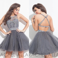 Élégant Gris Cristal 2016 Robes de Retour Backless Sexy Tulle Perles Mini Courte Robes de Cocktail Parti Robe Balle Robe de Bal Personnalisé