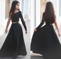 Zei Mhamad Black One Shoulder Long Sleeve Kids Prom Dresses A Line Tweedelige Beaded Flower Girls Jurken