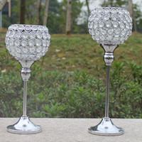 Бесплатная доставка металлический посеребренный подсвечник с кристаллами. свадебные канделябры/украшение центральным,1 комплект=2 шт Подсвечник
