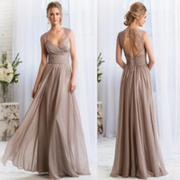 2015 V- neck Long Silver Bridesmaid Dresses Lace Keyhole Back...