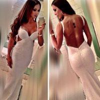 2015 vestidos de noche largos de diseñador marfil lentejuelas sin espalda baja sirena con cuello en V longitud del piso sin mangas vestido de fiesta atractivo personalizado