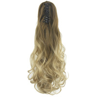 Curly Brown Ombre Claw Ponytail Synthetic Hair Long Clip In ...