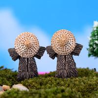6pcs spaventapasseri Cappelli abbigliamento Fairy Garden Caratteristiche Super Cute Decorazione Mini mondo Home Garden Ornament