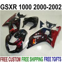 スズキGSX-R1000 K2 2000 2001 2002プラスチックフェアリゾーン00 01 02 GSXR 1000ブラックアフターマーケットセットYR59