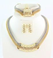 최고 품질의 신부 목걸이 팔찌 귀걸이 반지 쥬얼리 세트 아프리카 골드 도금 매력적인 의상 쥬얼리 세트