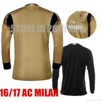 cb05c729a ... 2017 Long Sleeve AC Milan Goalkeeper Soccer Jerseys 99 Gianluigi  Donnarumma Gabriel Black Gold Goalie Milan ...