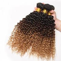 3 связки ломбер кудрявый вьющиеся 1b / 4 / 27 цвет человеческих волос расширения афро кудрявый вьющиеся бразильские девственные пучки человеческих волос