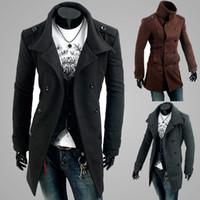 Mode neue Männer beiläufige Schultergurt Zweireiher Trenchcoat langen Mantel Revers Slim Fit Trenchcoats einzigartige Herrenbekleidung