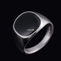Envío gratis tamaño # 7-12 Classic Men Jewelry 18K oro blanco plateado esmalte negro anillos para hombres