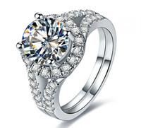Yüksek Kalite 2CT 925 Ayar Gümüş Beyaz Altın Renk Kadınlar için Güvenilir Sentetik Elmas Yüzük Düğün Klasik Takı