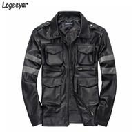 الجملة الشر المقيم الساخن بيع ثلاثي الأبعاد جيوب رجالي سترة جلدية سليم صالح معطف جلد الرجال الحجم M-3XL