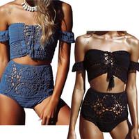 2018 weg von der Schulter mit hohen Taille Crochet Bikinis Frauen Bademode Strick Strand Sexy Badeanzug-Frauen-Badeanzug Biquini