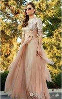 2015 atemberaubende Pailletten Lange Abendkleider Jewel neck Halbarm A-Linie bodenlangen Chiffon Formelle Kleider Abendkleid