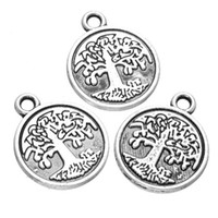 200 pcs antique Silver Plated Tree of Life Pendant charms go...