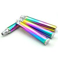 Visão e rotação do cigarro eletrônico da bateria do arco-íris eGo C torção 650mAh 900mAh 1100mAh 1300mAh variável tensão 3.3-4.8v tanque vape canetas mods