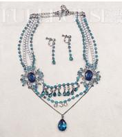 azul * perlas de diamantes blancos gotas bwedding aretes collar conjunto de novia (hb3308) eterer