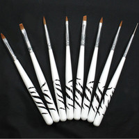 Wholesale-8pcs Manicure painting tool set crystal carved phototherapy nail pull Chien brush pen zebra wholesale #M01907